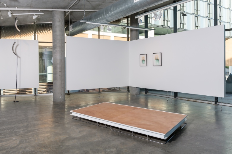 (left to right) Deb Mansfield, Increasing levels of collective denial until it's all over, concrete parts, navy marine rope, bronze electrics, dimensions variable, 2016. Bonita Bub, Hilux: Industrial Objects for MacBook Users, stainless steel, powder coated steel, plywood, canvas, webbing, cord, 2015. Consuelo Cavaniglia, Untitled, 2016, airbrushed pigment ink on archival paper, 760 x 560 mm. Image by Document Photography.