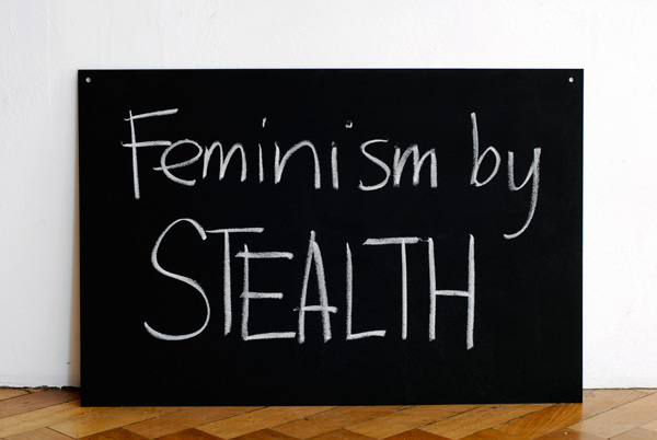 Kelly Doley, The Learning Centre Two Feminists, blackboard, MDF, chalk, 2012
