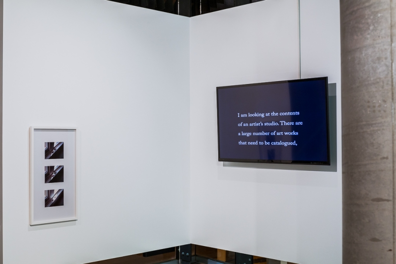 Benjamin Chadbond (left of corner wall), The Father, the Son and the Holy Ghost, 2016, Marie Shannon (video work), What I am looking at, 2011 // The Leftovers