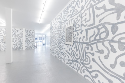 D_O_T offsite exhibition. Artwork by Beyula Puntungka (foreground) set in linework installation. Image by Doqment.
