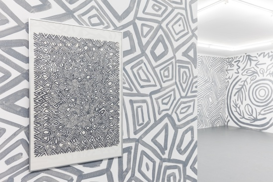 D_O_T offsite exhibition. Artwork by Isobel Major set in linework installation. Image by Doqment.