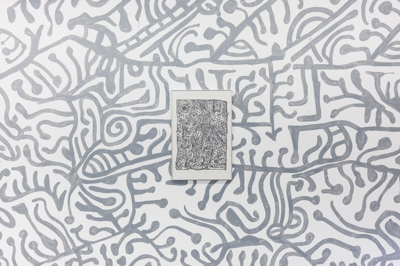 D_O_T offsite exhibition. Artwork by Beyula Puntungka set in linework installation. Image by Doqment.