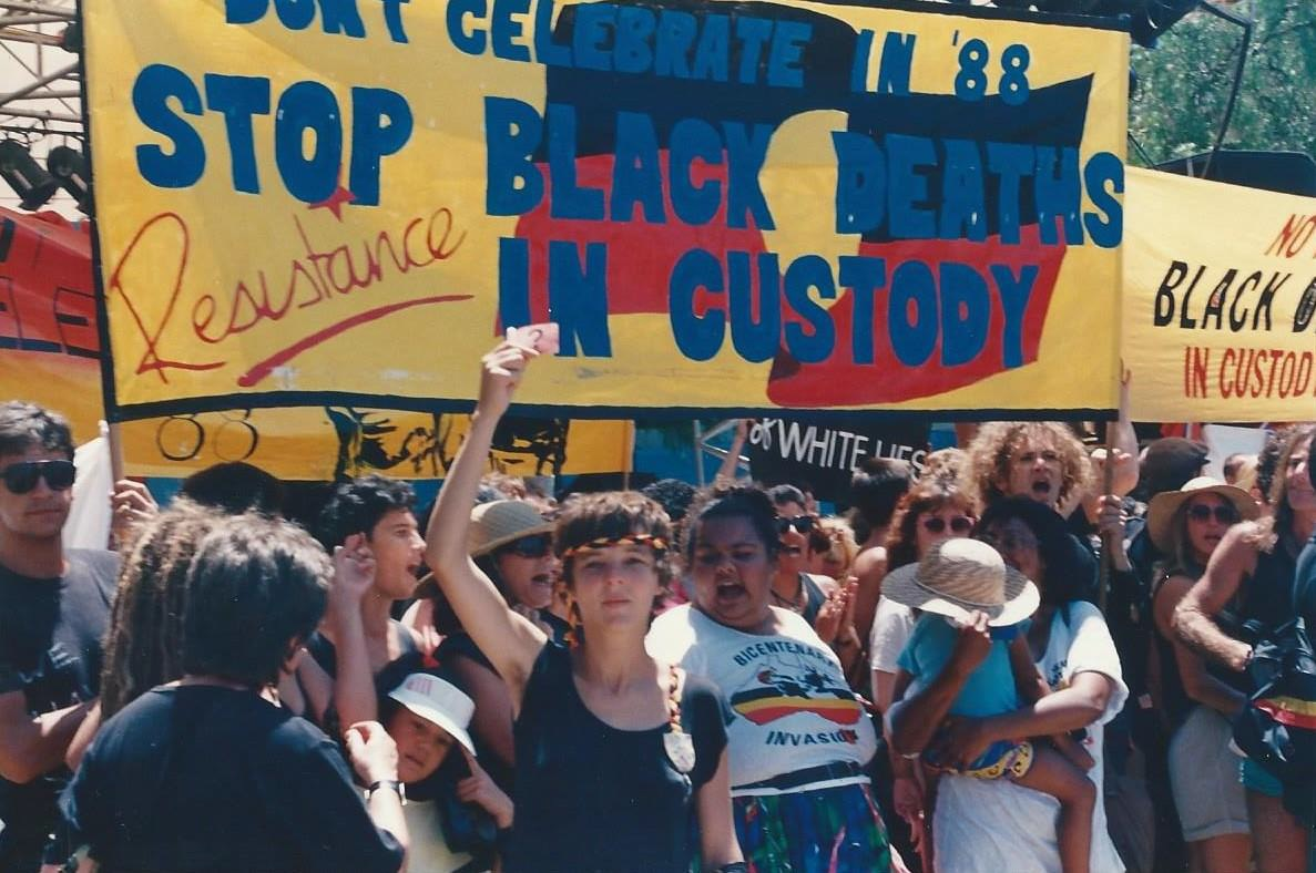 Australian Bicentenary protest, photograph, 4 x 6 inches, January 1988. Image by Elaine Pelot Syron
