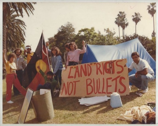 Rebekah Raymond; Tent Embassy at Botanical Gardens (photo taken by Elaine Pelot Syron), 1982