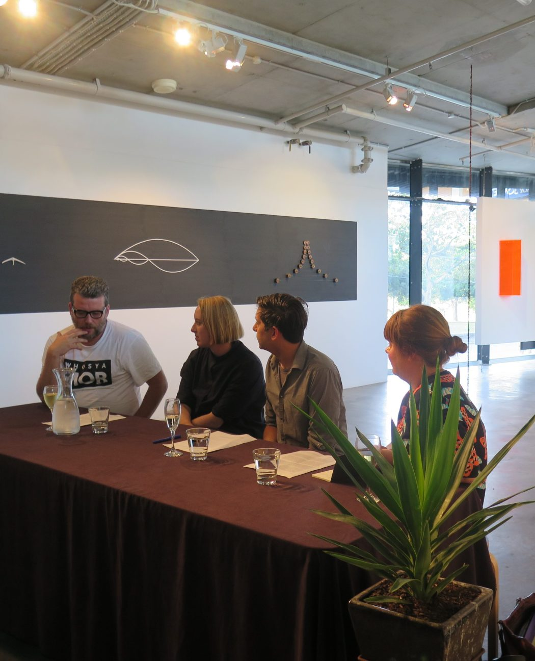Indigenising the white cube : rethinking curatorial practices // Chaired by Stephen Gilchrist, panelists LtoR Sebastian Goldspink, Emma Pike, Stephen Gilchrist and Emily McDaniel.