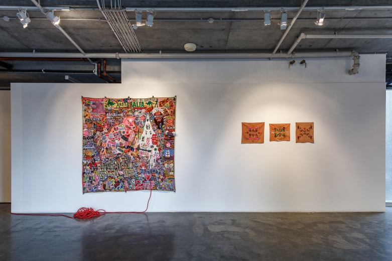 (L) Paul Yore, Spoils of War, 2015. (R) Claudia Nicholson, Si tomas el agua de Neshuya (Once you have tasted the water of Neshuya) 2013, Gasolina 2014. Image by Document Photography.