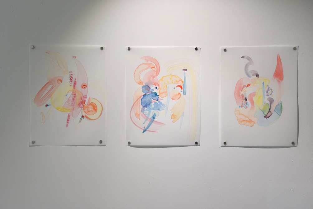 Rochelle Haley, 2015. Constructions of the Moving Body (after Trisha Brown's Accumulation), watercolour on tracing paper, 3 x A4 drawings