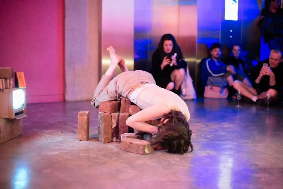 Justyna Stanczew 'Build me up, build me down' Performance, brick and video, Art Acts: MCA ArtBar, 2017 *An iteration of this artwork will be exhibited in the show