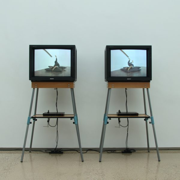 Emma Cocker and Clare Thornton, 2016. The Italic I, video and monitors, 2m (l) x 0.8m (b) x 1.5m (h).