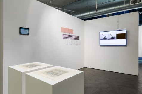 Left to Right: Louise K Wilson, Parabola, Emma Cocker & Clare Thornton, The Italic I, Morrad+McArthur, A lack of Chairs, Documents, Alternatives #2, January-February at Verge Gallery, image by Document Photography.