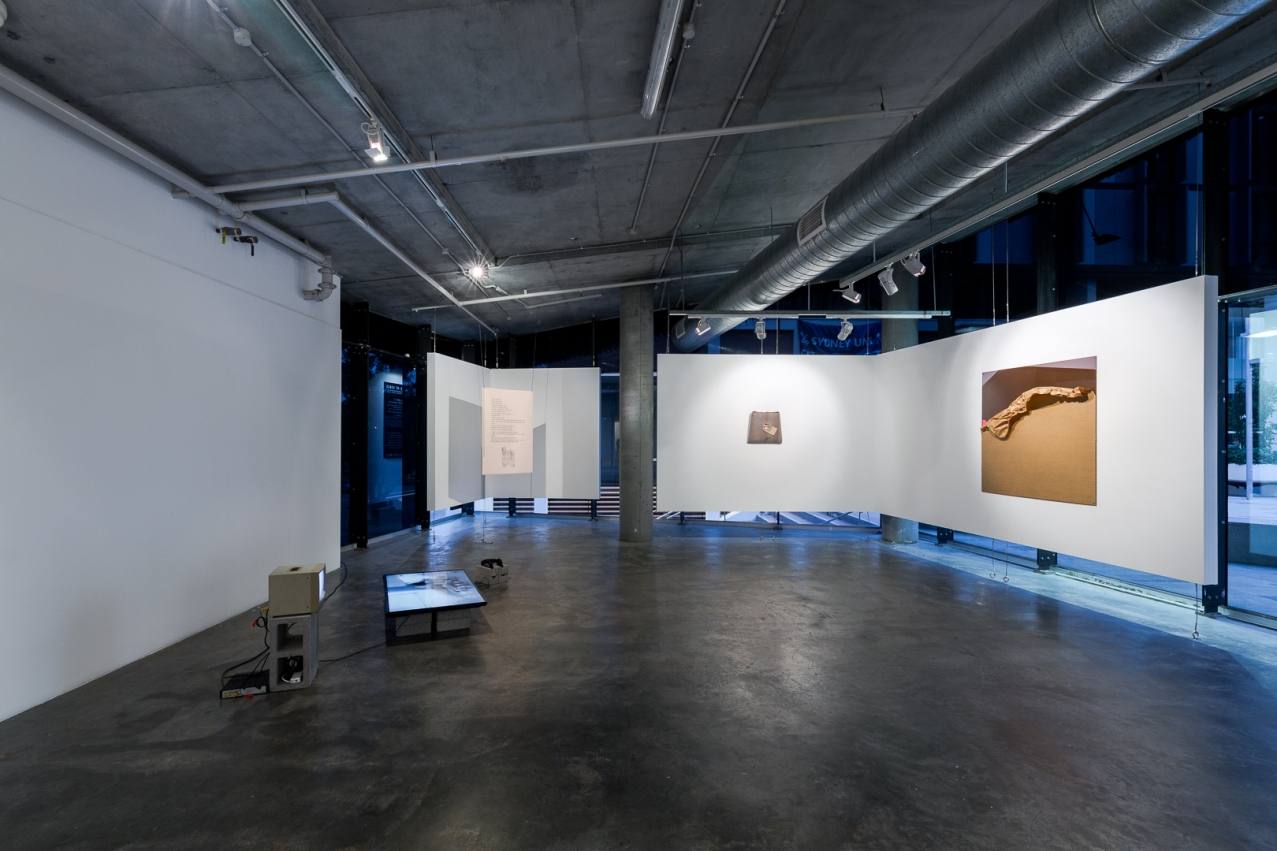 Left to Right: Justyna Stanczew, Build me up, build me down, Jessica Mei Cham, Seepage swan lake, Jessica Mei Cham, Parlour Pages: Kelly's Asian Flowers, Greenacre (Dark Web Archive), Karen Benton, There Before, A studio based practice, January-February at Verge Gallery, image by Document Photography.