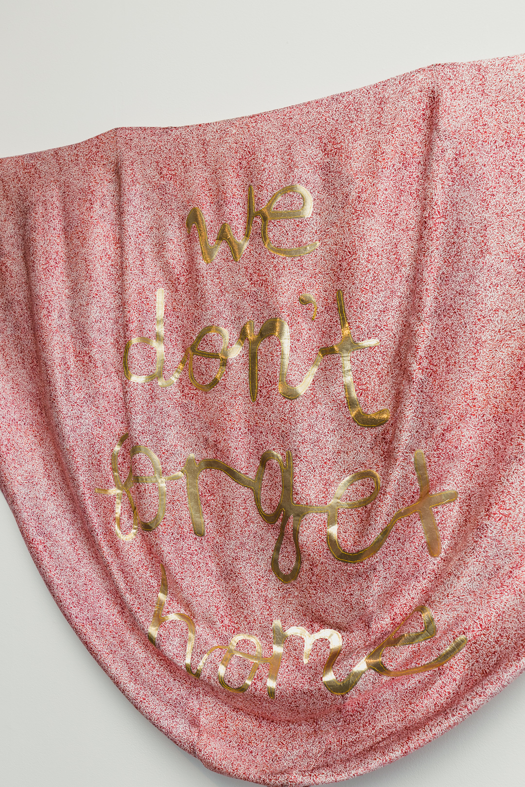 Nicole Barakat, We don't forget home, 2018, silk embroidered, hand cut lame on direct digital print silk satin (detail). Image by Document Photography.