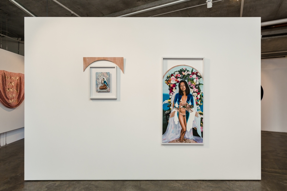 L-R: Marikit Santiago, Be (2017), acrylic, oil and pyrography on MDF placemat, 50 x 40 cm; Marikit Santiago, Blessed Virgin Fierce (2018), acrylic, oil and pyrography on ply, 135 cm x 65 cm. Image by Document Photography.