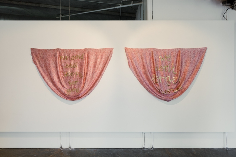 L-R: Nicole Barakat, Our soil still weeps for you, 2018, silk embroidered hand cut lame on direct digital print silk satin, and Nicole Barakat, We don't forget home, 2018, silk embroidered hand cut lame on direct digital print silk satin. Image by Document Photography.