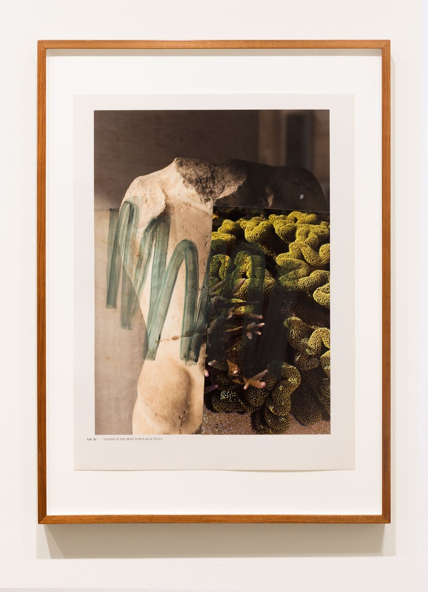 Elena Papanikolakis, Talking is the most popular activity. 2017. Synthetic polymer paint, binder medium and pigment inkjet prints on Hahnemuhle paper. 81.49cm x 61. 6cm. Photograph, Jessica Maurer