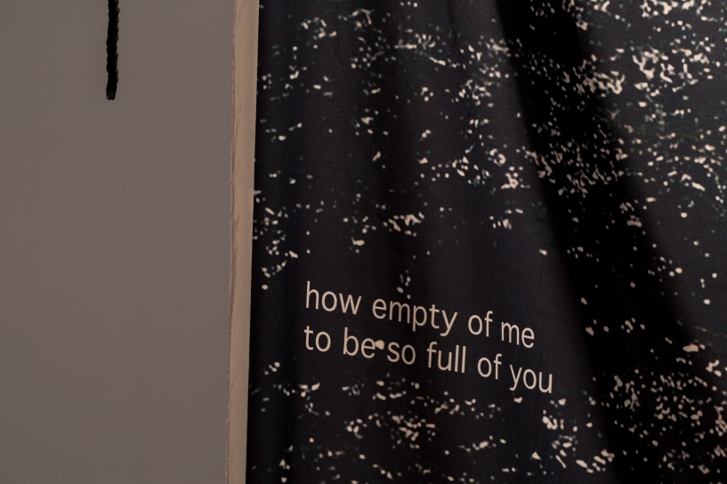 Kieran Bryant, how empty of me to be so full of you, digital print on polysilk with cord, 2 m x 1.35m, 2018.