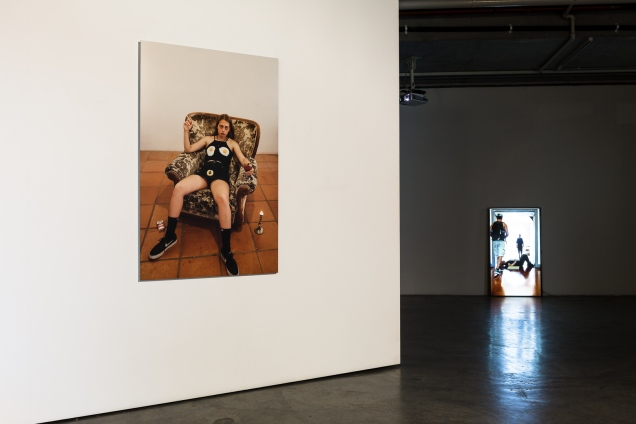 (L-R): Pamela Pirovic, Homage to Sarah Lucas, digital c-type, 2018.; Danica Knezevic, Stepping Stones, endurance performance documentation, 2017. Image by Document Photography.
