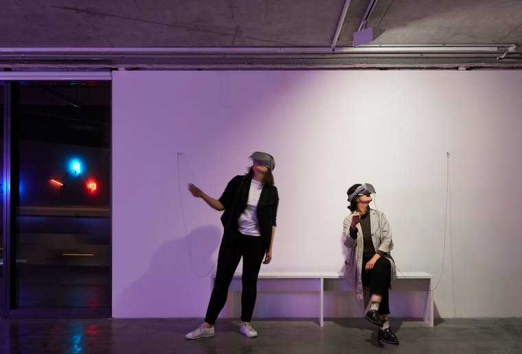 Anna Madeleine, Wasteland, 2018virtual reality scene & Jessica HerringtonEmotion Space, 2018virtual reality scene. Photo credit: Zan Wimberley.